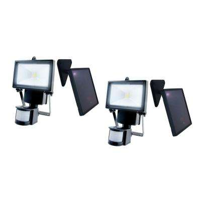Black Outdoor Solar Motion Sensing Security Light with Advance LED Technology, (2-Pack)