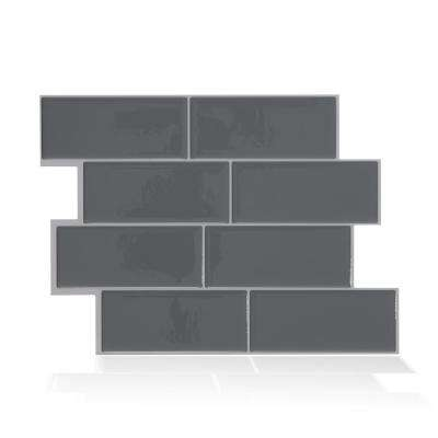 Metro Grigio Dark Grey 11.56 in. W x 8.38 in. H Peel and Stick Decorative Mosaic Wall Tile Backsplash (4-Pack )