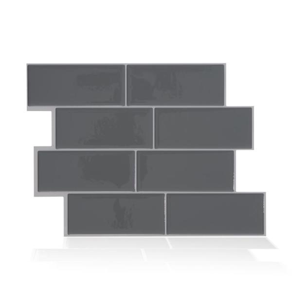 Smart Tiles Metro Grigio Dark Grey 11.56 in. W x 8.38