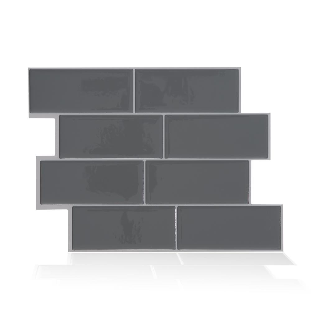 Metro Grigio Dark Grey 11.56 in. W x 8.38 in. H Peel and Stick Decorative Mosaic Wall Tile Backsplash (4-Pack )
