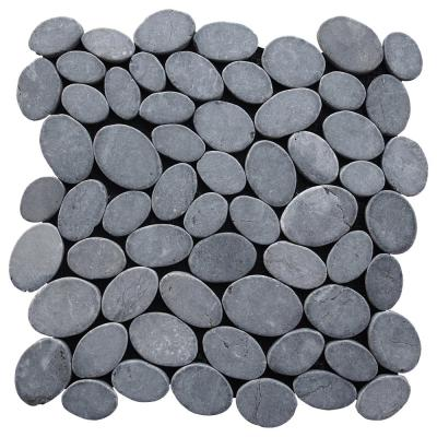 Pebble Tile Marble Mosaic Grey 11.5 in x 11.5 in x 9.5mm Mesh-Mounted Mosaic Tile