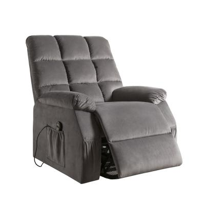 Ipompea Gray Velvet Recliner with Power Lift and Massage