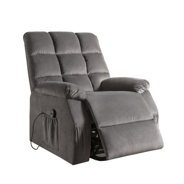 Acme Furniture Ipompea Gray Velvet Recliner with Power Lift and Massage