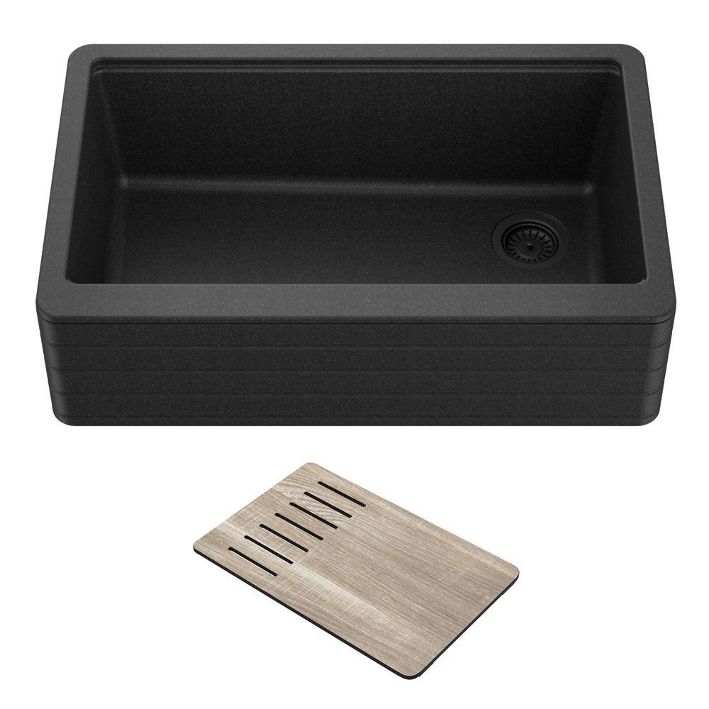 Bellucci 29.75 in. Black Granite Composite Single Bowl Farmhouse Apron Workstation Kitchen Sink with Accessories