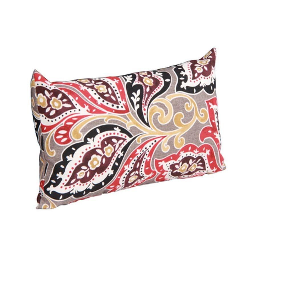 Hampton Bay Walnut Creek Paisley Outdoor Lumbar Pillow (2-Pack)