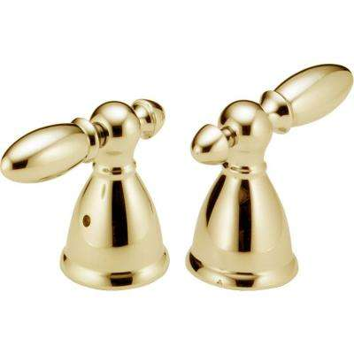 Pair of Victorian Lever Handles in Polished Brass for Roman Tub Faucets