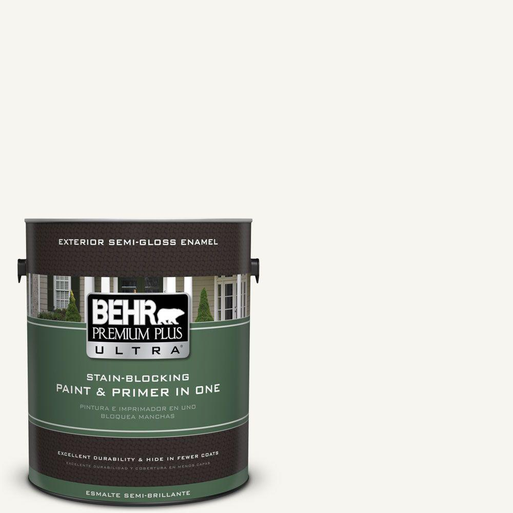 1 gal. #HDC-WR16-01 Snow Day Semi-Gloss Enamel Exterior Paint