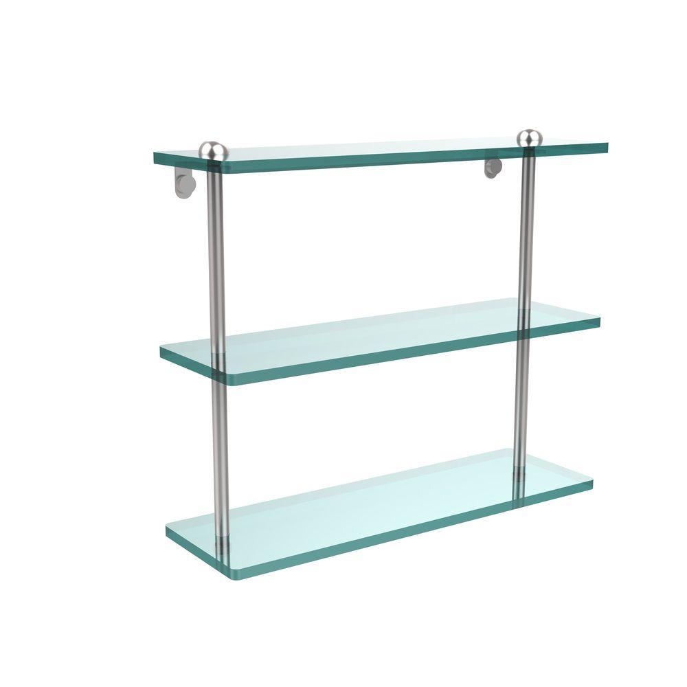 Allied Brass 16 in. L x 15 in. H x 5 in. W 3-Tier Clear Glass Bathroom Shelf in Satin Chrome