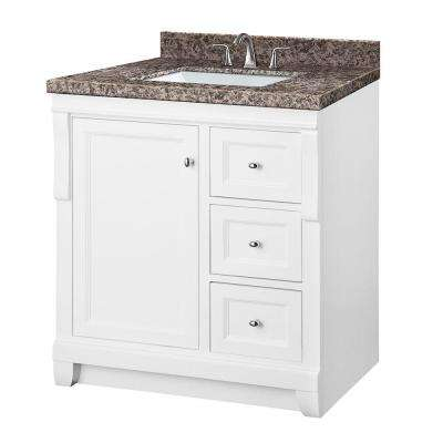 Naples 31 in. W x 22 in. D Vanity in White with Granite Vanity Top in Sircolo and White Basin