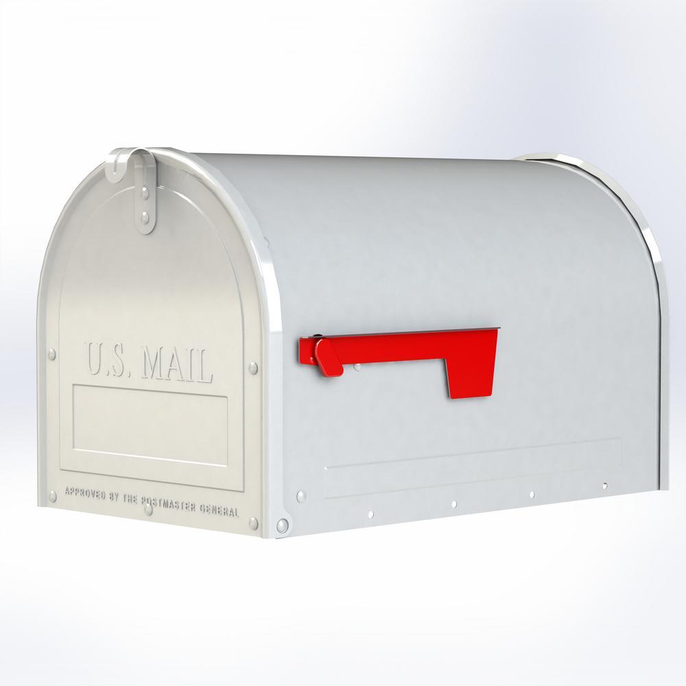 Marshall White Post Mount Locking Mailbox