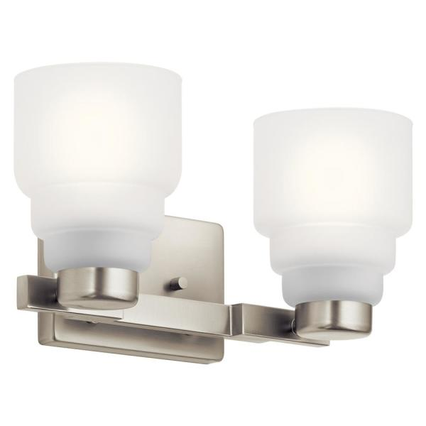 Vionnet 2-Light Brushed Nickel Vanity Light with Satin Etched Glass