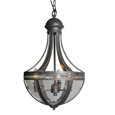 3-Light Distressed Black Chandelier with Clear Glass Shade