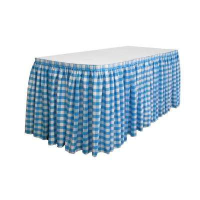 14 ft. x 29 in. Long White and Turquoise Polyester Gingham Checkered Table Skirt with 10 L-Clips