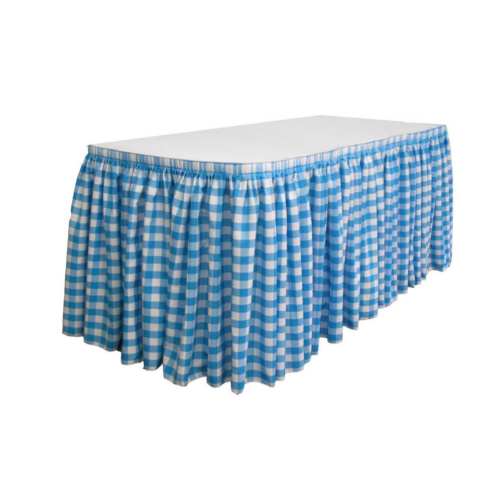 17 ft. x 29 in. Long White and Turquoise Polyester Gingham