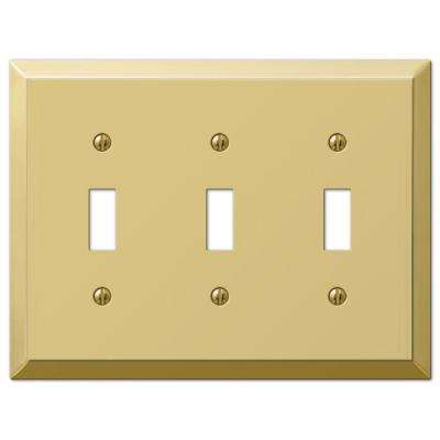 Metallic 3 Toggle Wall Plate - Polished Brass Steel