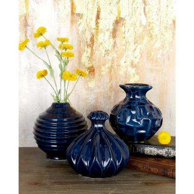 7 in. Modern Midnight Blue Ceramic Decorative Vases (Set of 3)