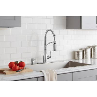 Mandouri Single-Handle Spring Pull Down Kitchen Faucet with TurboSpray, FastMount and Soap Dispenser in Stainless Steel