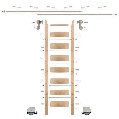 8 ft. Red Oak Ladder (9 ft. Reach) Satin Nickel Contemporary Rolling Hook Hardware 12 ft. Rail and Horizontal Brackets