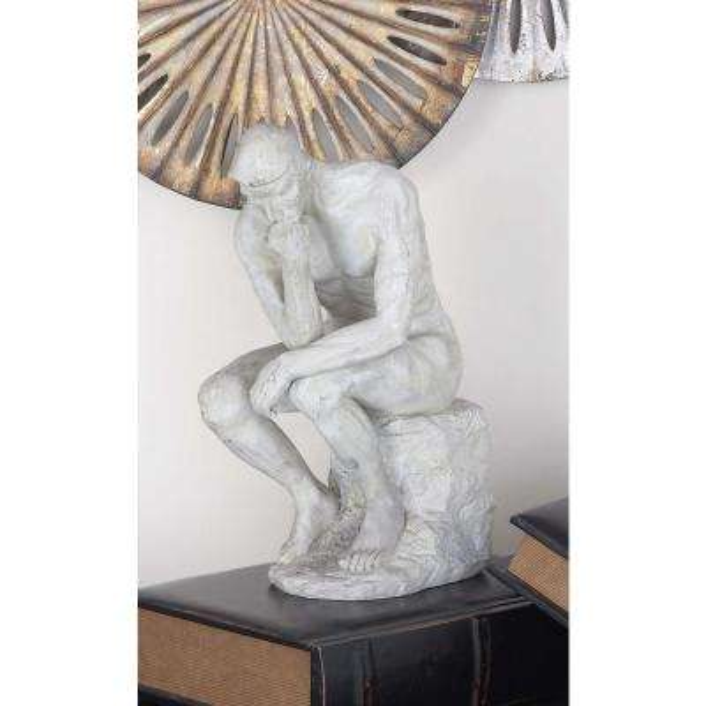 12 in. x 6 in. The Thinker Decorative Statue in Colored Polystone