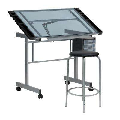 Vision 2 Piece Collection: 35.5 in. W Metal and Blue Tempered Glass Mobile Craft Table with Stool and Supplies Storage