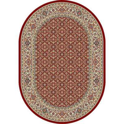 Hughes Red/Ivory 7 ft. x 10 ft. Indoor Oval Area Rug