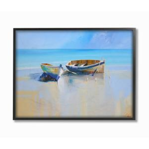 24 in. x 30 in. ''Two Row Boats at the Shining Shore Painting '' by Craig Trewin Penny Framed Wall Art