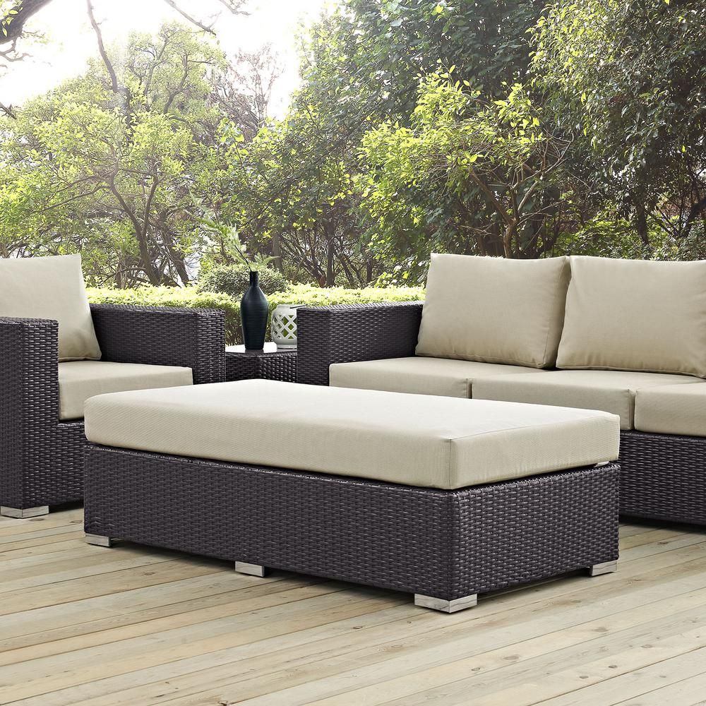 Convene Wicker Outdoor Patio Fabric Rectangle Ottoman in Espresso with Beige