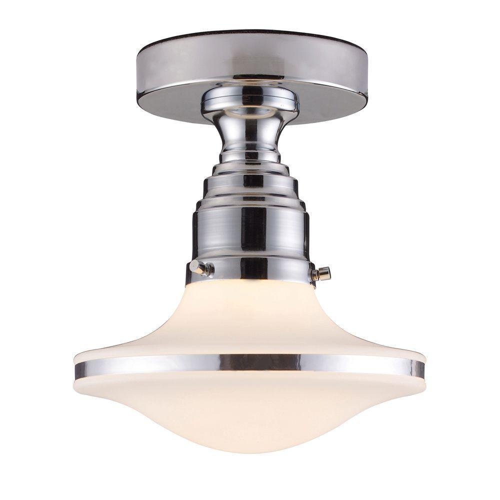 Retrospectives 1-Light Polished Chrome Ceiling Semi-Flush Mount Light