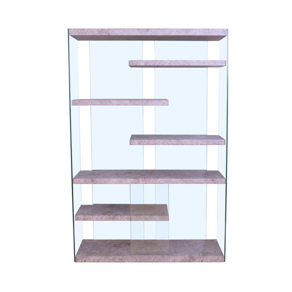 Boyd 6 Shelves Clear Glass Bookcase (1 Set/2 Carton)