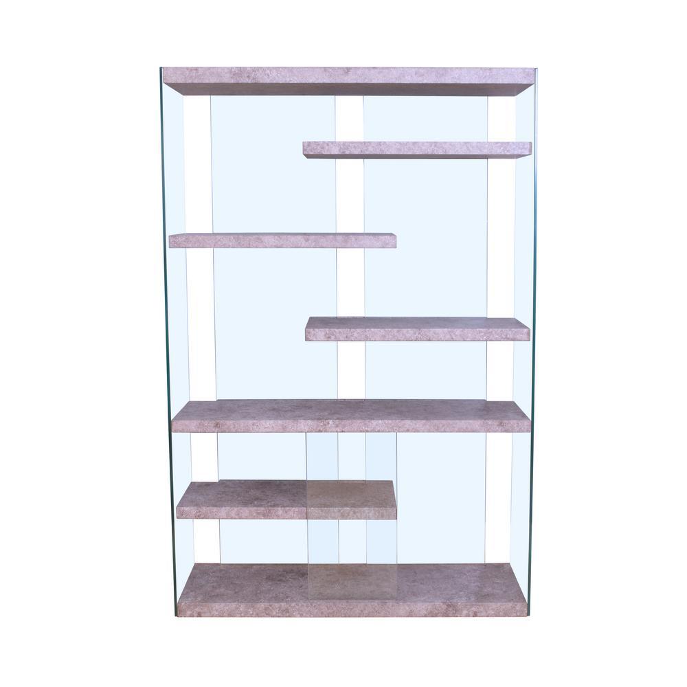 Boyd 6-Shelves Clear Glass Bookcase (1 Set/2 Carton)