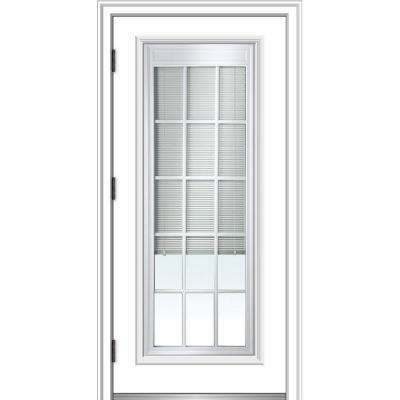 36 in. x 80 in. Internal Blinds/Grilles Right-Hand Outswing Full Lite Clear Primed Fiberglass Smooth Prehung Front Door