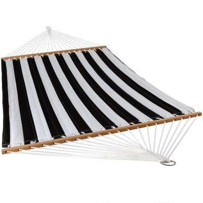 11-3/4 ft. Quilted Double Fabric 2-Person Hammock in Black and White