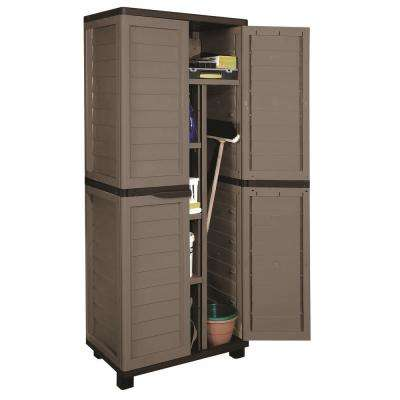 2 ft. 5 in. x 1 ft. 8 in. x 5 ft. 11 in. Plastic Mocha/Brown Storage Cabinet w/ 4 Shelves and Vertical Partition