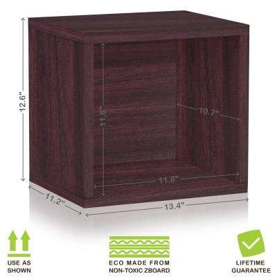 Connect System 11.2 in. x 13.4 in. x 13.4 in. zBoard  Stackable Open Storage Cube Organizer Unit in Espresso Wood Grain