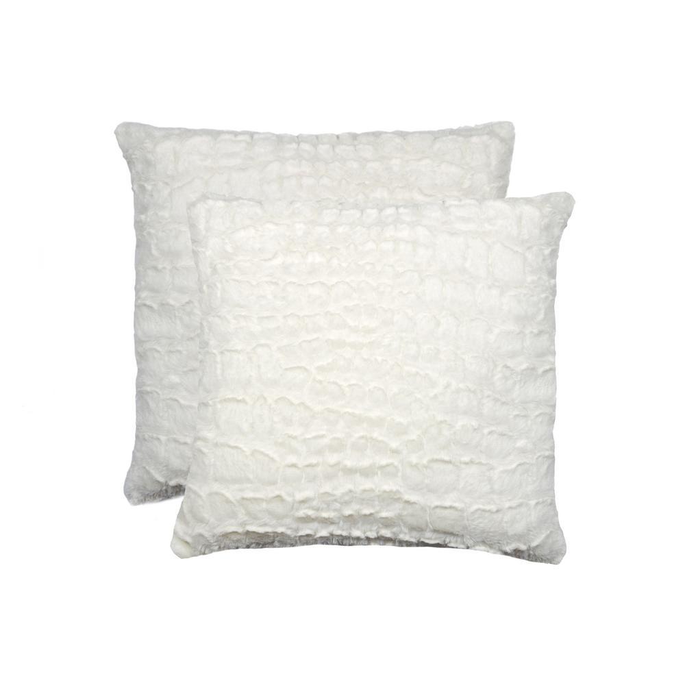 Belton Ivory Mink 18 in. x 18 in. Faux Sheepskin Decorative Pillow (Set of 2)