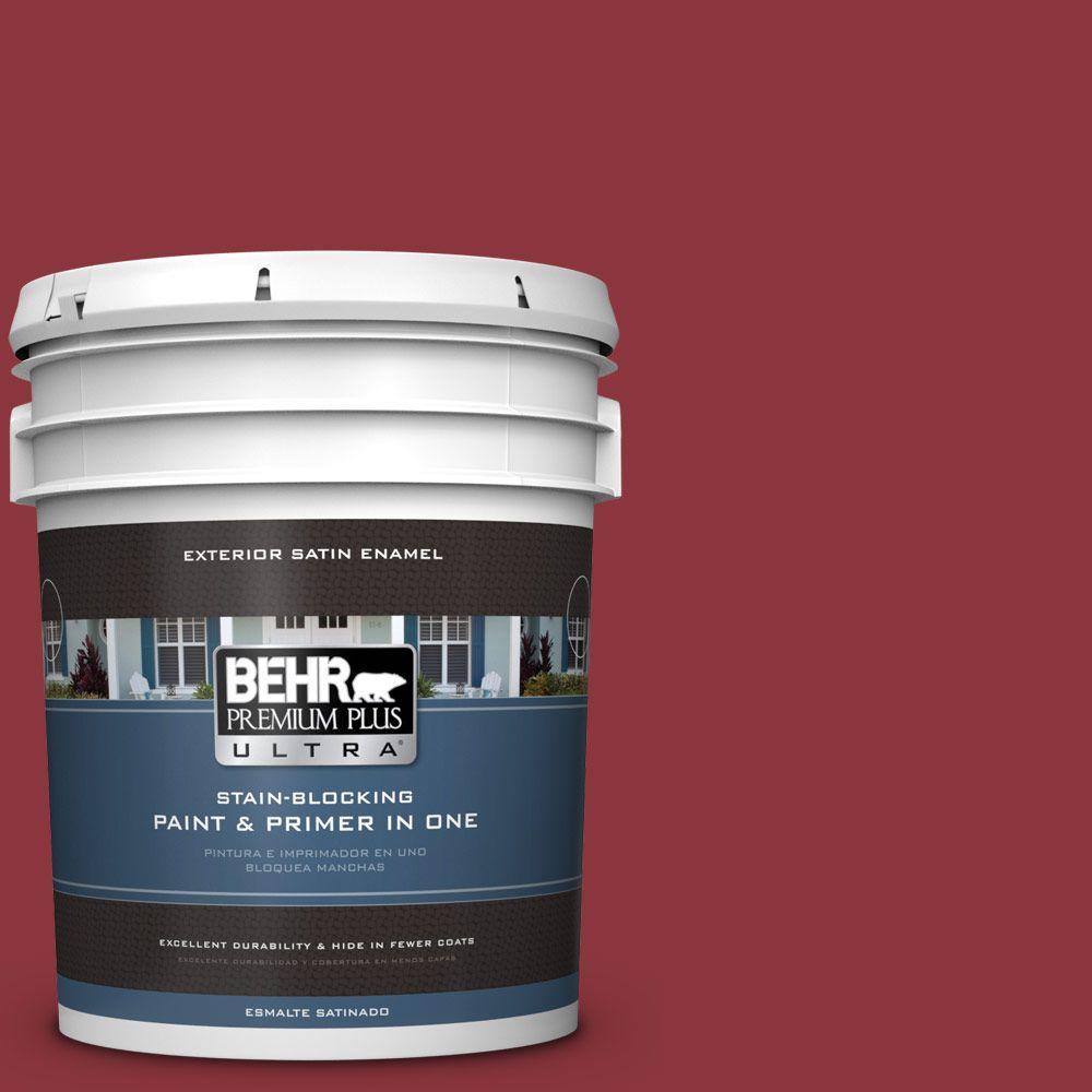 BEHR Premium Plus Ultra 5-gal. #S-G-140 Cherry Cobbler Satin Enamel Exterior Paint