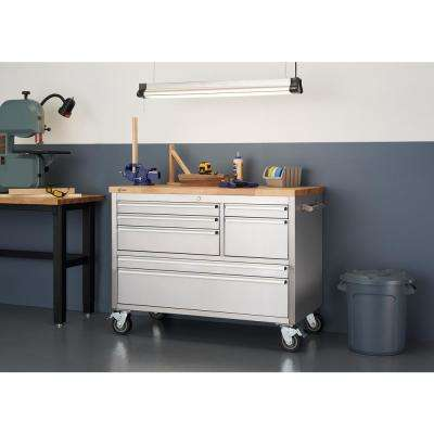 4 ft. 7-Drawer Stainless Steel Workbench with Storage