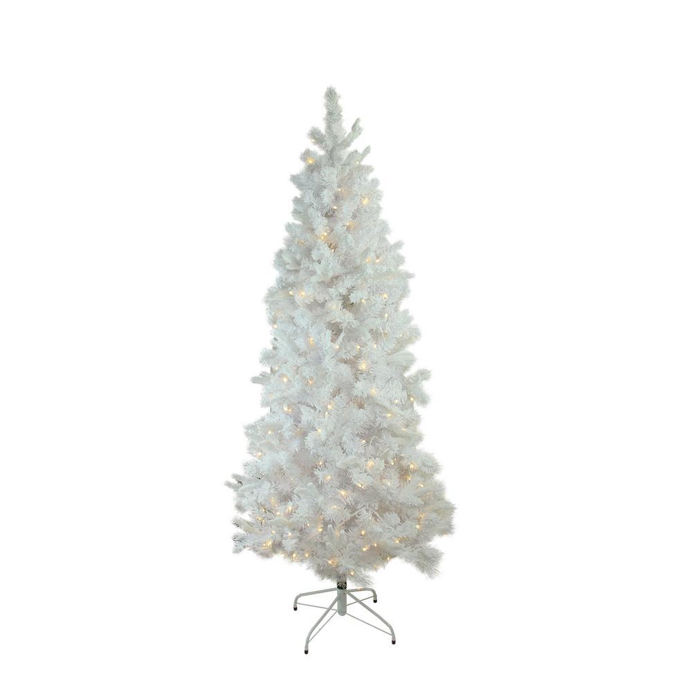 6 5 Ft X 39 In Pre Lit Flocked White Pine Slim Artificial Christmas Tree Warm White Led Lights