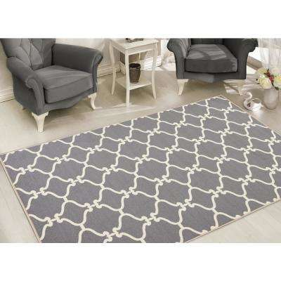 Clifton Collection Moroccan Trellis Design Gray 8 ft. x 10 ft. Felt Area Rug