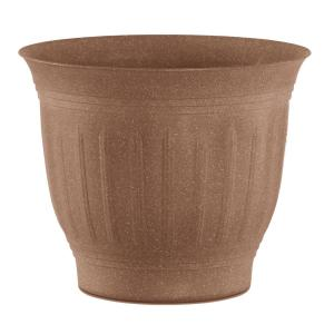 Colonnade 12 in. Dark Earth Wood Resin Plastic Planter