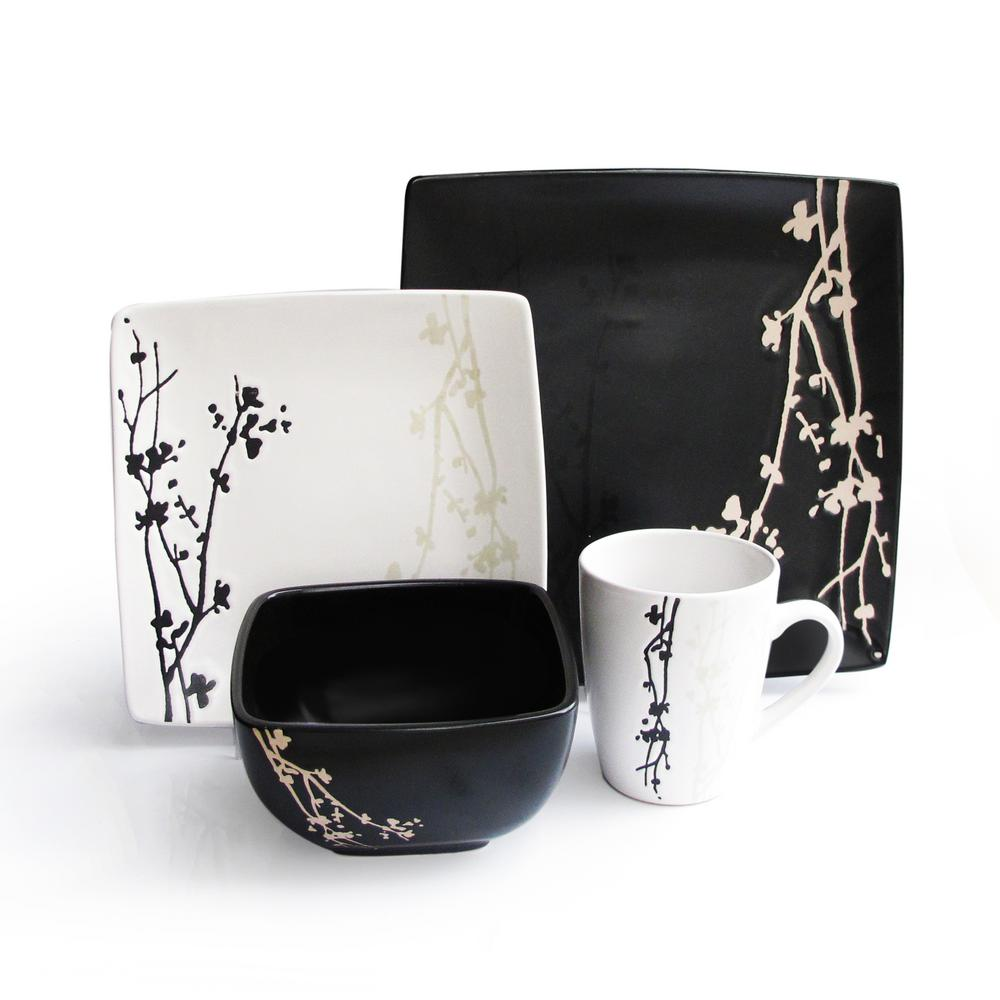 American Atelier Twighlight Blossom 16 Piece Blacka And White