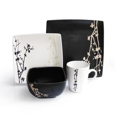 Twighlight Blossom 16-Piece Blacka and White Dinnerware Set
