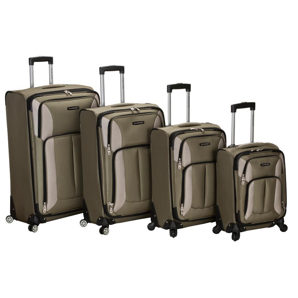 Rockland 4-Piece Impact Spinner Softside Luggage Set, Olive