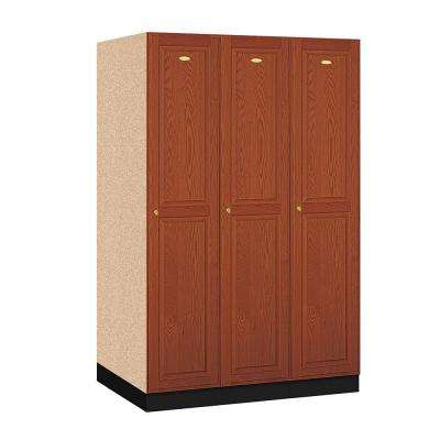 11000 Series Single Tier 24 in. D 3-Compartment Solid Oak Executive Wood Locker in Medium Oak