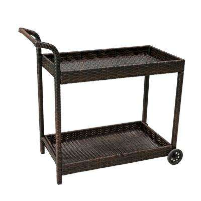 Aviva Wicker Outdoor Serving Bar Cart