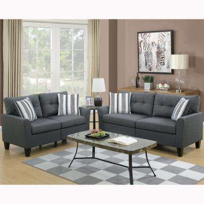 Sardinia 2-Piece Charcoal Sofa Set