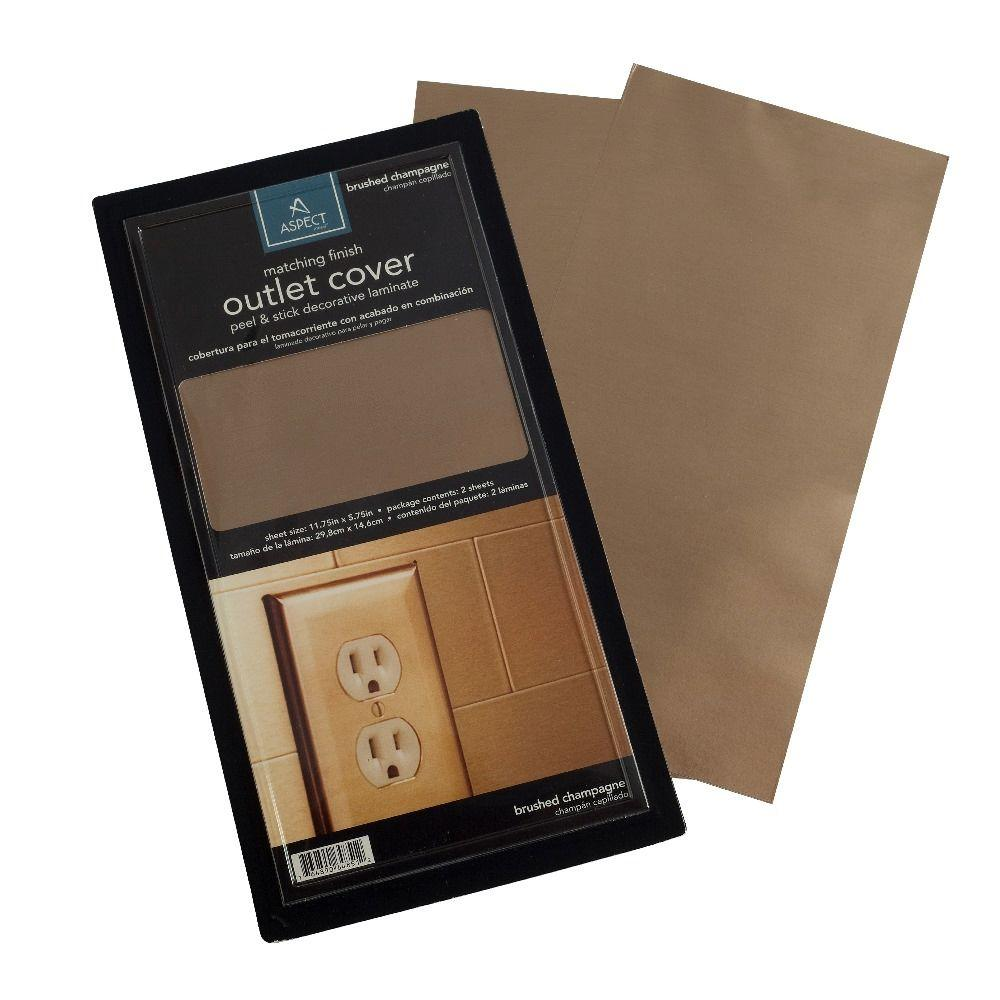 Aspect Vinyl Peel and Stick Champagne Outlet Cover (2-Pack)