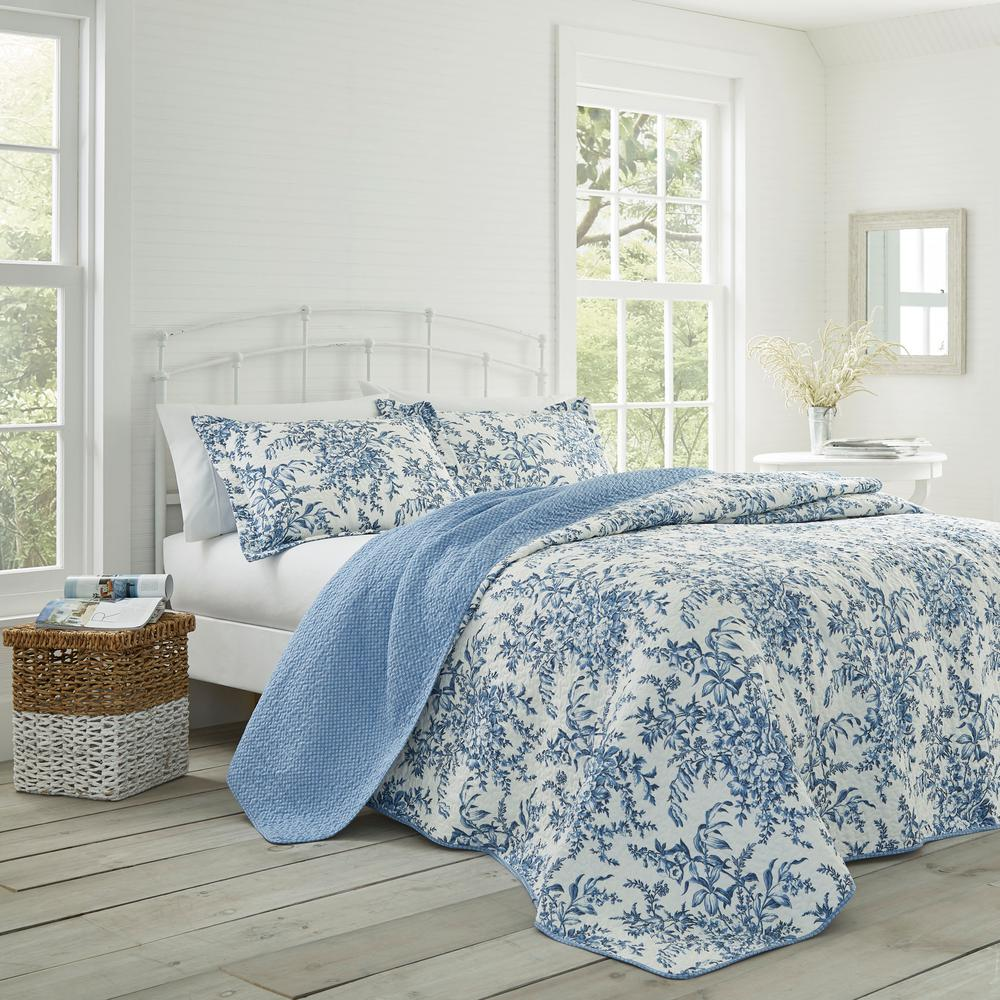 Laura Ashley Bedford 3 Piece Delft Full Queen Quilt Set 185747 The
