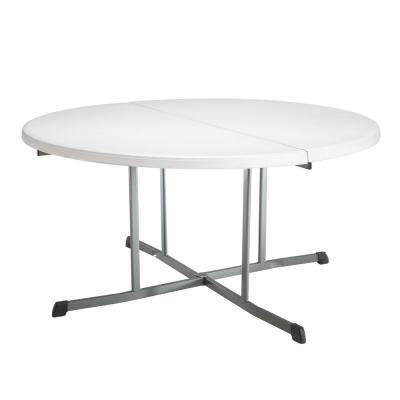 White Granite Round Folding Table