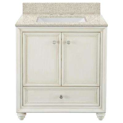 Dellwood 31 in. W x 22 in. D Bath Vanity in Antique White with Engineered Quartz Vanity Top in Sedona with White Sink